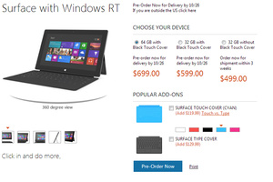 Microsoft Surface RT finally priced