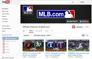 MLB now to stream archived and live games, clips via YouTube
