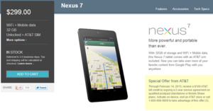 AT&T to offer $100 credit with purchase of Nexus 7 with contract