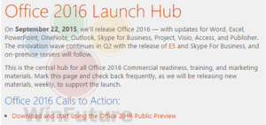 Office 2016 for Windows expected to launch September 22nd