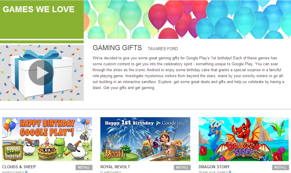 Google Play celebrating first anniversary with special ...