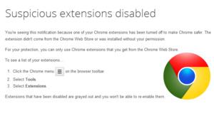 Uitgeschakelde 'verdachte' extensies in Chrome weer inschakelen.
