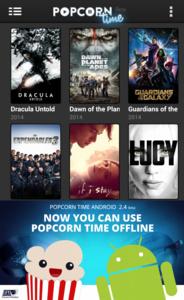Nieuwste Popcorn Time for Android met gratis VPN en offline kijken.