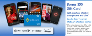 Wal-Mart offering $50 gift card with phones