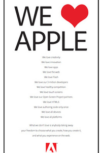 "New Adobe ads claim ""We <3 Apple"""