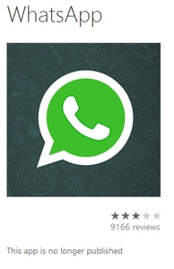 WhatsApp disappears from Windows Phone Store