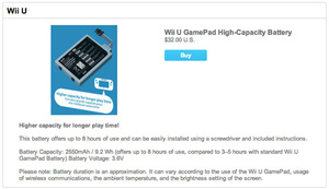 Nintendo's Wii U GamePad battery will give you 8 hours of playing time