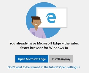 Windows 10 preview warns against Chrome, Firefox installations