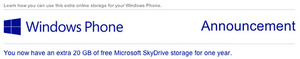 Microsoft gives another 20GB of free SkyDrive storage to Windows Phone owners